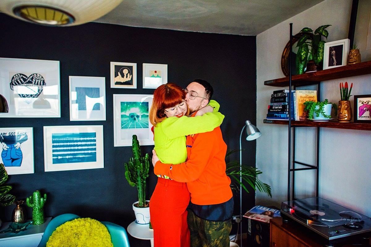 Soho Wedding Photographer - Pip & Dan in home Love Session in London