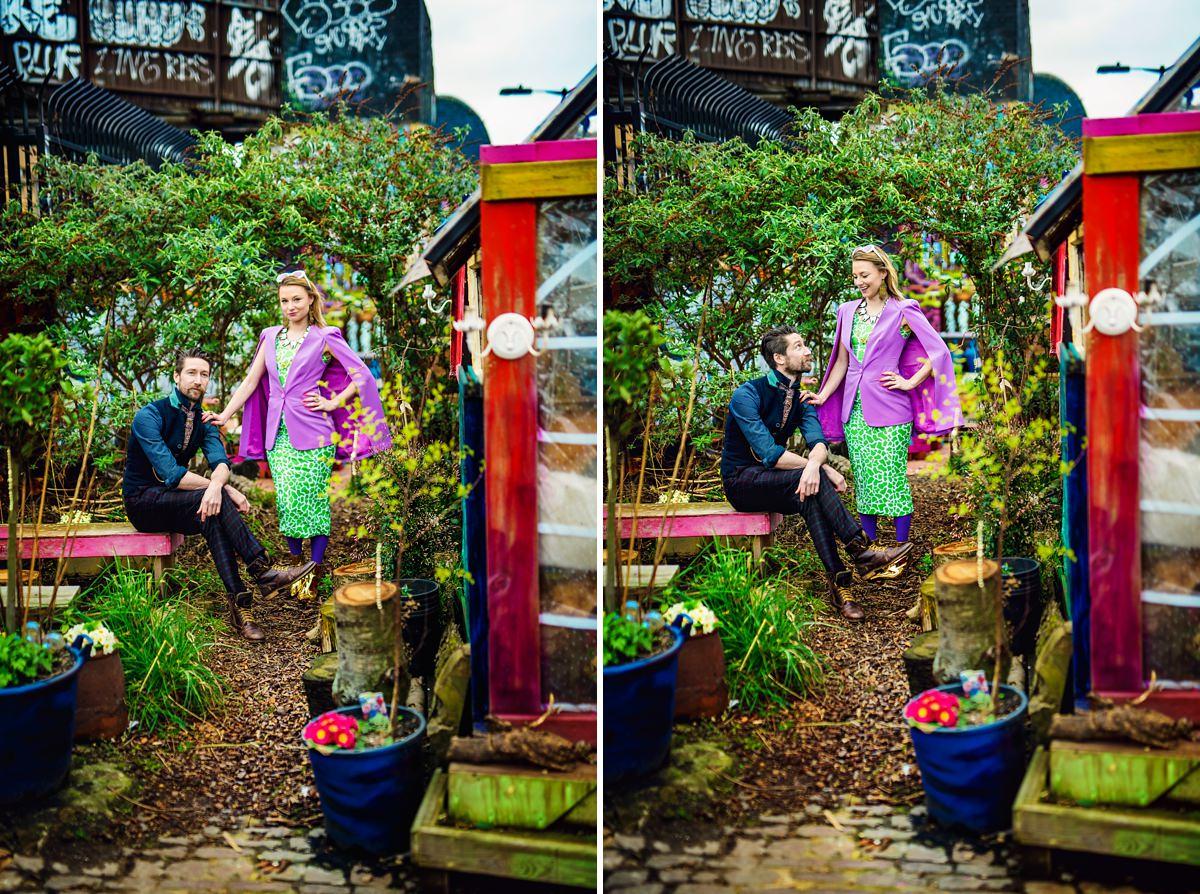 Brick Lane Wedding Photographer - Gray and Twinks in Nomadic gardens located in Brick Lane