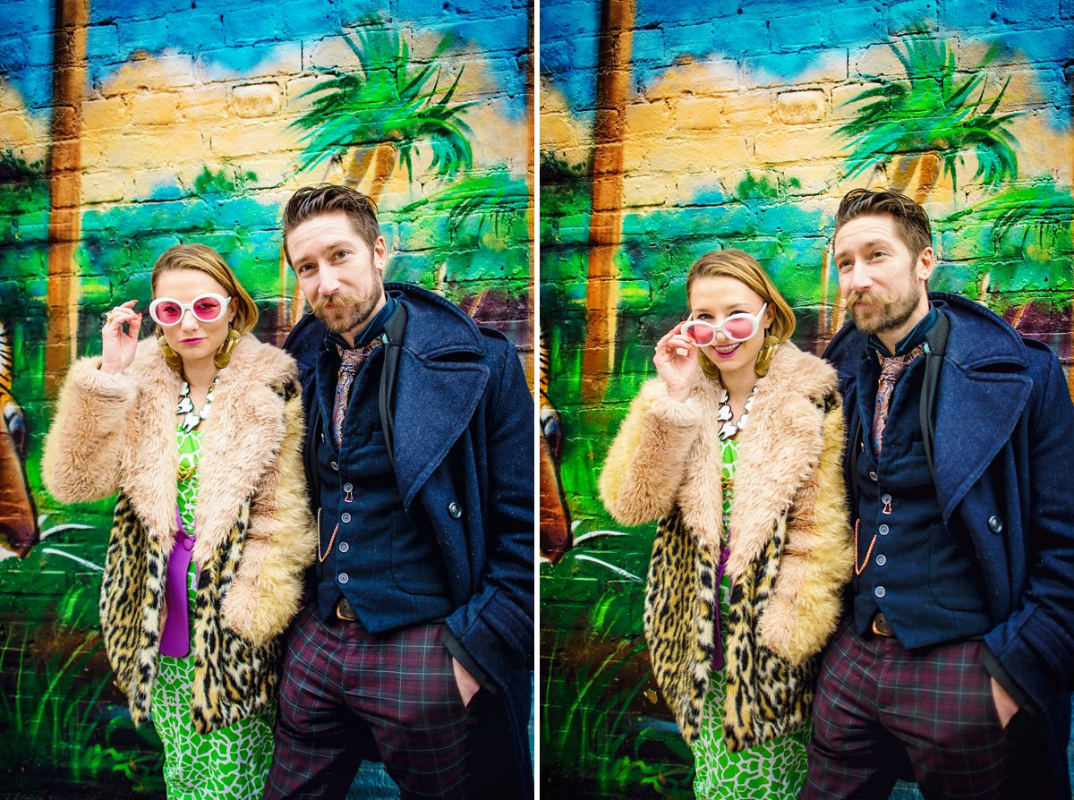 Brick Lane Wedding Photographer - Gray and Twinks infront of Jim Vision Wall