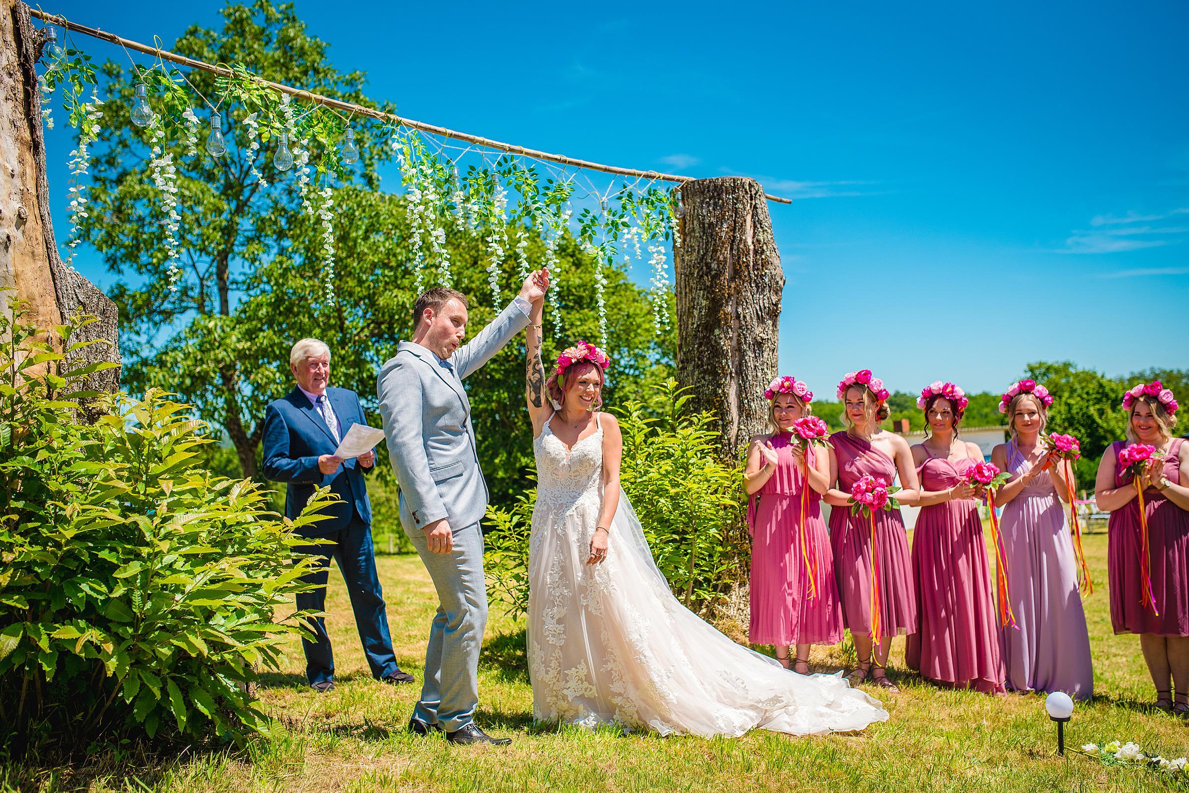 Back Garden Festival Wedding in France Outside Ceremony