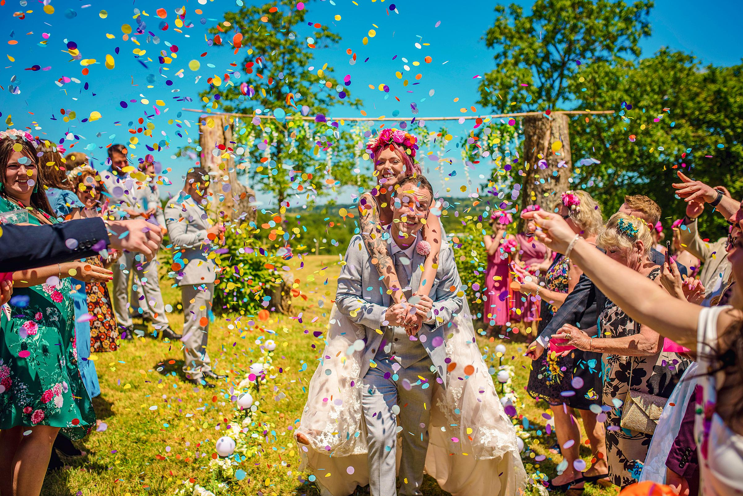 Back Garden Festival Wedding in France Load of Confetti