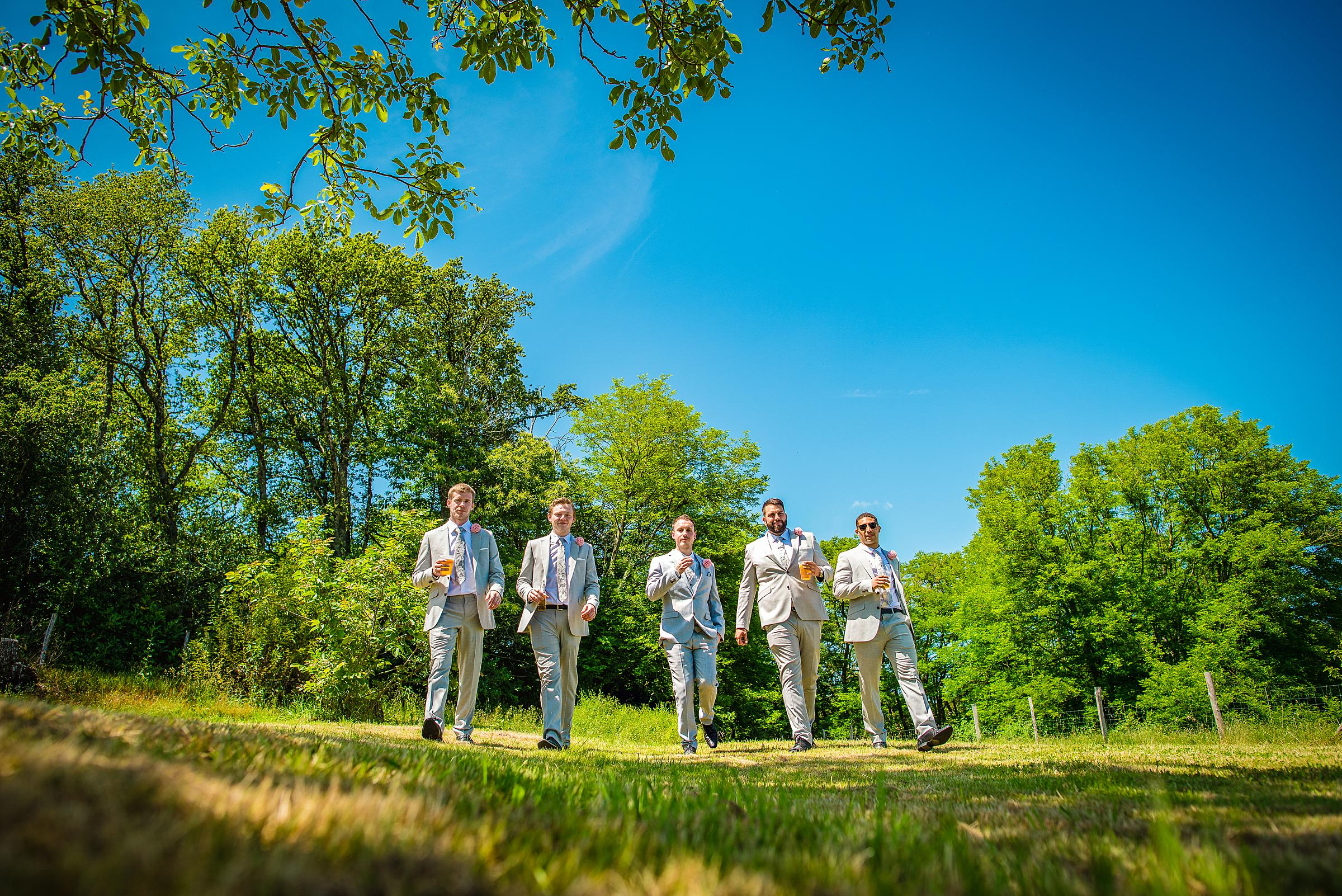 Back Garden Festival Wedding in France - Groomsmen
