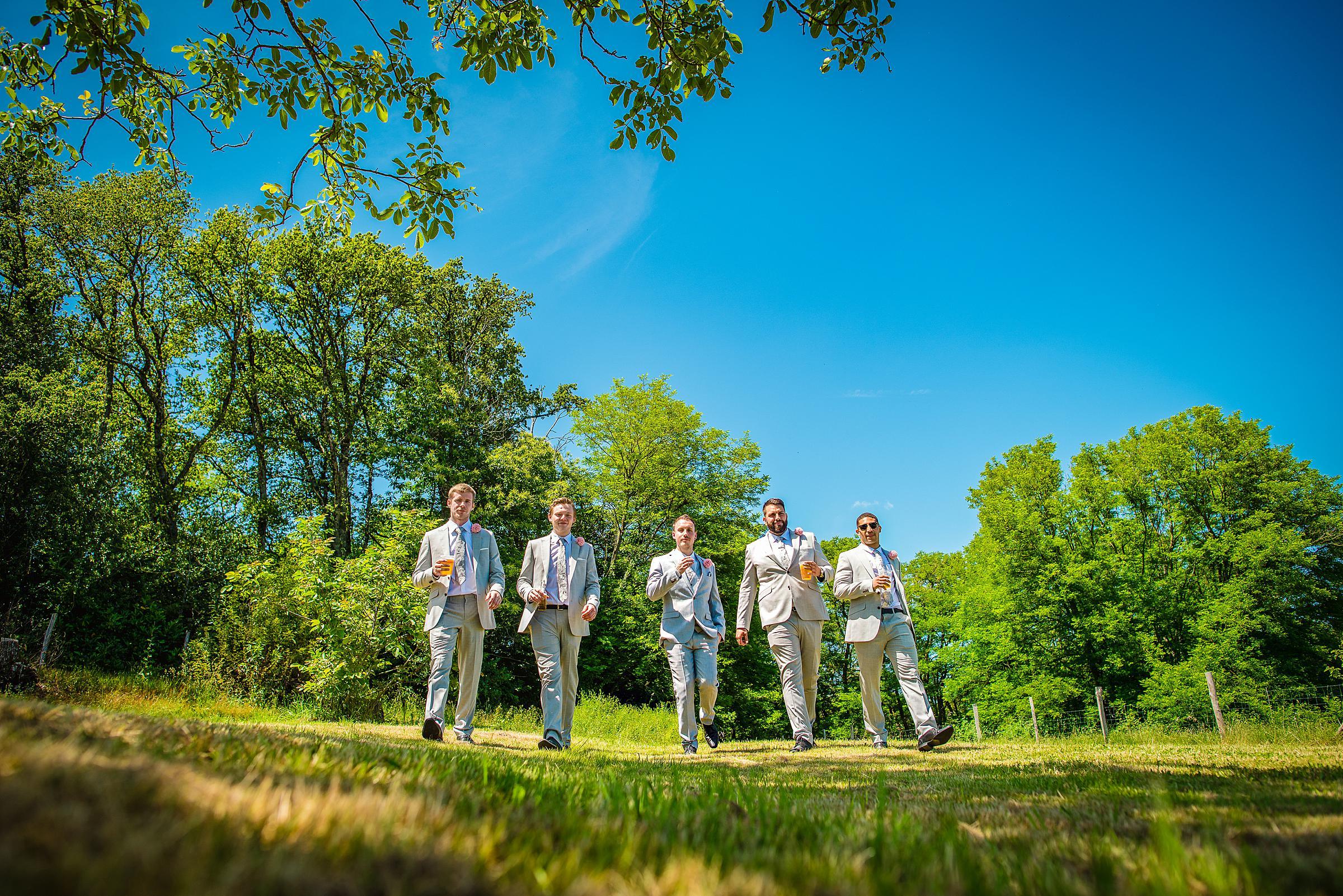 Back Garden Festival Wedding in France - Groomsmen