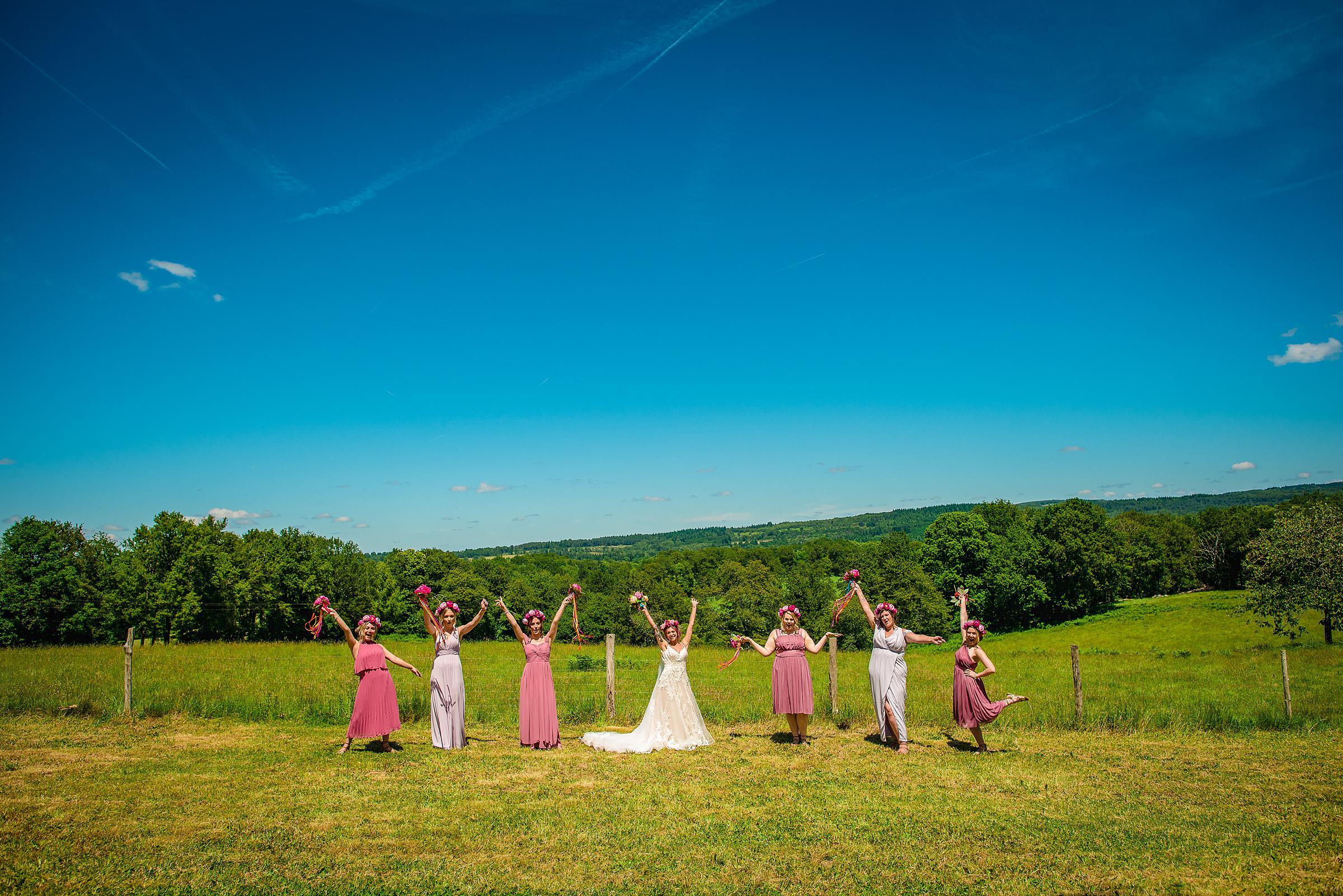 Back Garden Festival Wedding in France - Bridesmaids