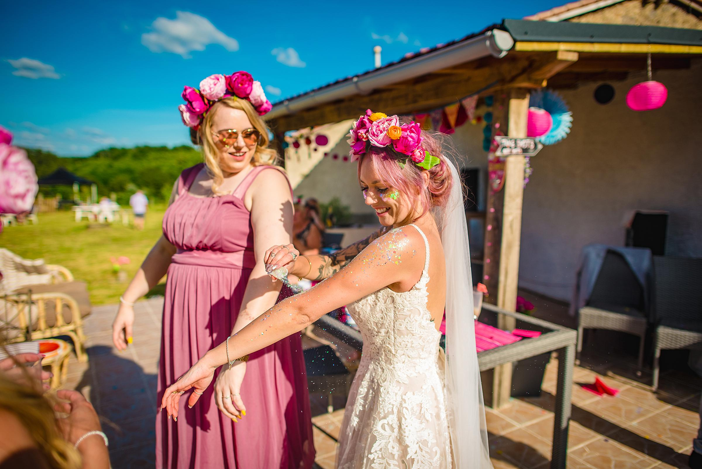 Back Garden Festival Wedding in France - Glittered Bride
