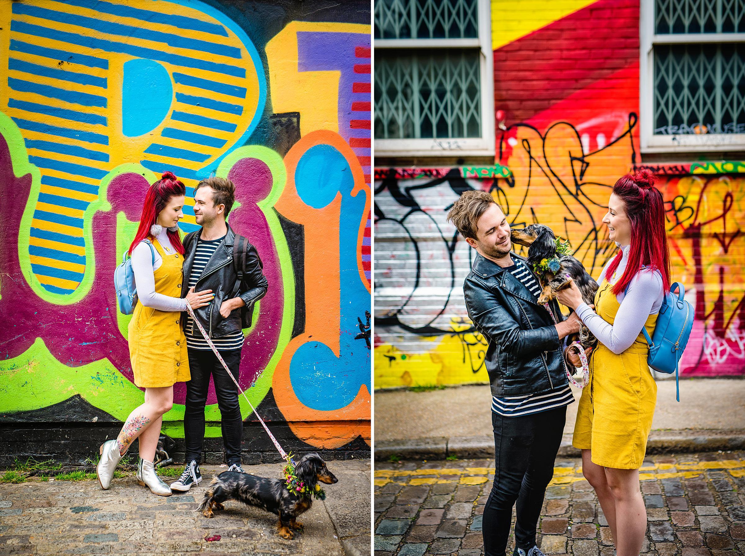 Colourful London Engagement - Shoreditch Engagement Session dog