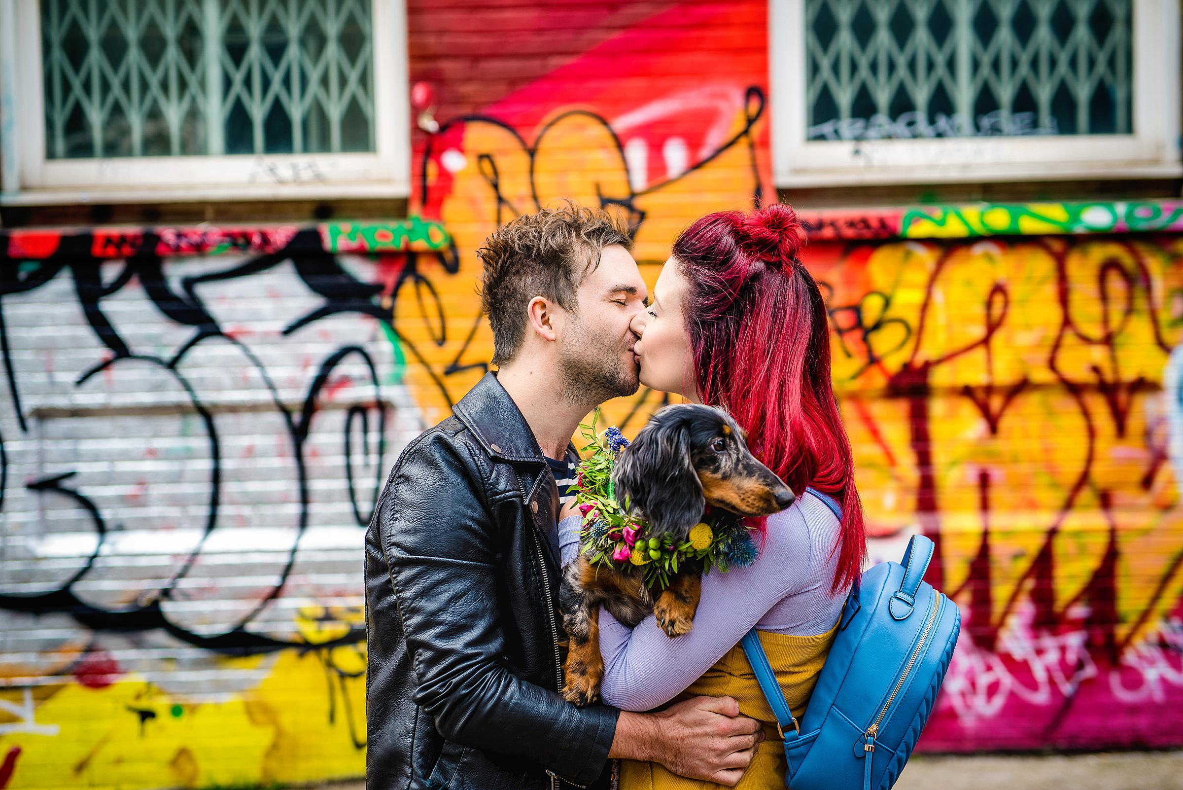 Colourful London Engagement with their dog - Shoreditch Engagement Session