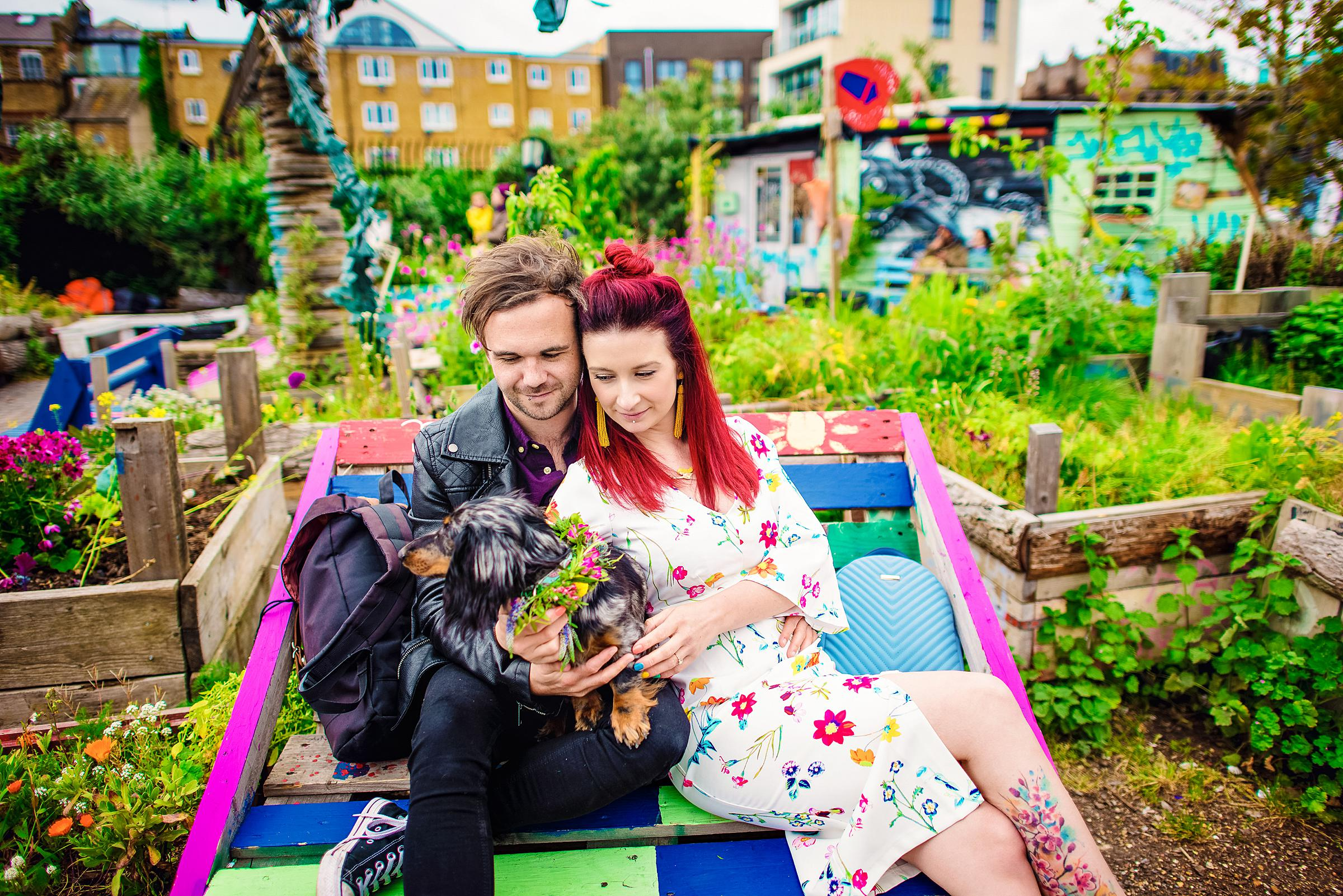Nomadic Gardens - Colourful London Engagement - Shoreditch Engagement Session